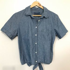 Lucky Brand Jean Cropped Button Down Shirt